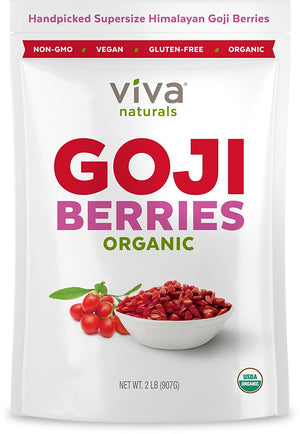 [2 lb Bag] Viva Naturals #1 Premium Himalayan Organic Goji Berries, Noticeably Larger and Juicier, 2lb bag