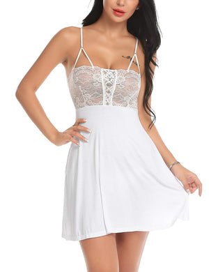 Women Sexy Nightgown Lace Chemise Full Slip Babydoll Dress