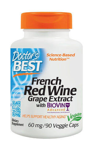 [Pack of 2] Doctor's Best French Red Wine Grape Extract, Non-GMO, Vegan, Gluten Free, Soy Free, 90 Veggie Caps Each