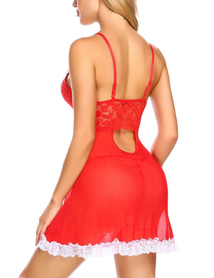 Womens Christmas Lingerie Red Santa Babydolls Lace Chemises