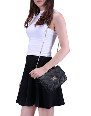 HDE Women's Small Crossbody Handbag Purse Bag with Chain Shoulder Strap