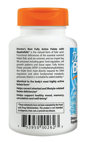 [Pack of 2] Doctor's Best Fully Active Folate with Quatrefolic, Non-GMO, Vegan, Gluten Free, 400 mcg, 90 Veggie Caps Each