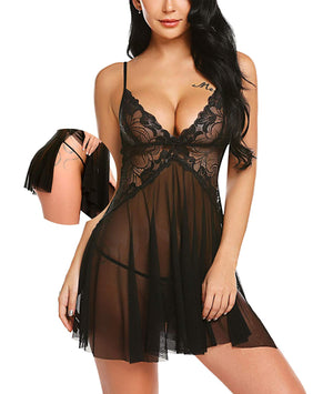 Women Lace Lingerie Mesh Chemise V Neck Babydoll Full Slip Nightdress