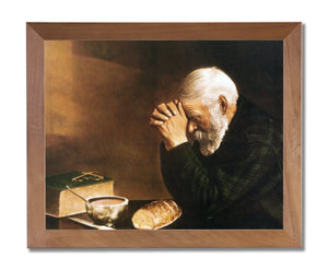 "19"" x 23"" Daily Bread Man Praying At Dinner Table Grace Religious Wall Picture Honey Framed Art Print"