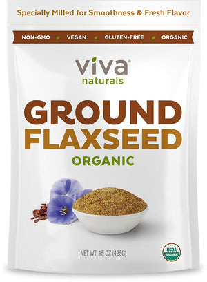 [Pack of 2 x 15 oz] Viva Naturals Organic Ground Flax Seed, 15 oz each - Specially Cold-milled Using Proprietary Technology for Optimal...
