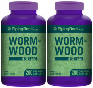 Wormwood 430 mg 2 Bottles x 200 Quick Release Capsules Herbal Supplement