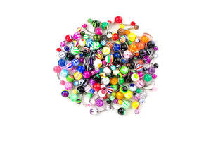 100 Pcs 14G Mixed Belly Button Navel Rings Barbells Body Piercing
