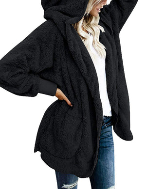 ACKKIA Women's Casual Draped Open Front Oversized Pockets Hooded Coat Cardigan