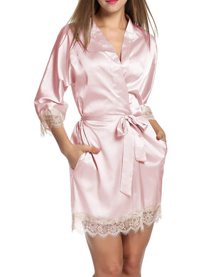 Women's Bathrobes Short Satin Kimono Robes Bridesmaids Sleepwear with Oblique V-Neck S-XXL
