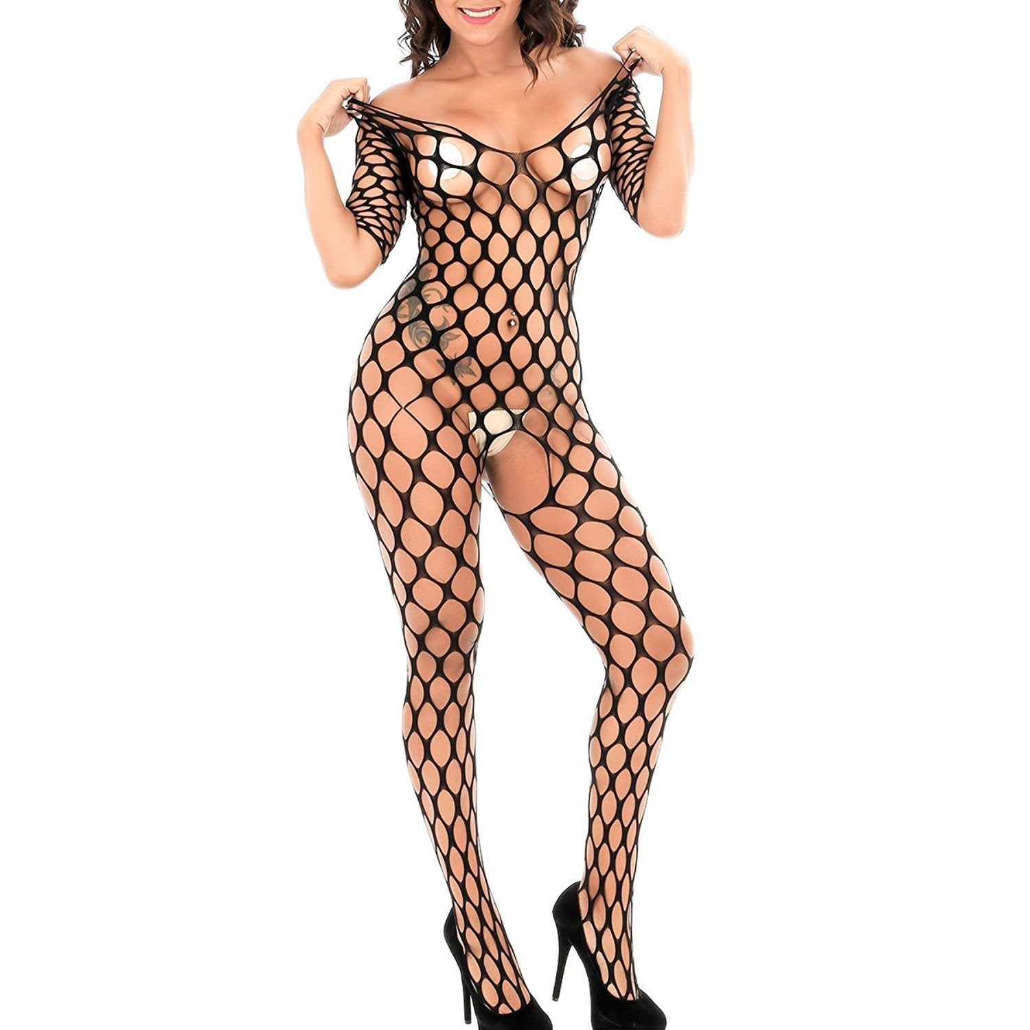 2ccc00770e9 Beauty Bodystocking Crotchless Women Sexy Lingerie Fishnet Bodysuit Teddy  Hollow Out Stretch Babydoll