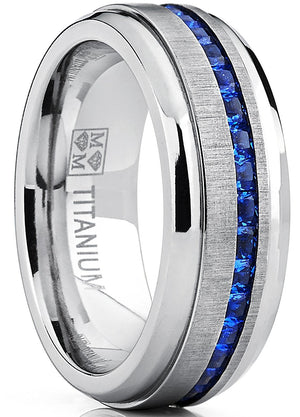 Men's Eternity Titanium Wedding Band Engagement Ring W/ Blue Simulated Sapphire Cubic Zirconia Princess CZ
