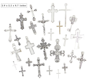25pcs Cross Mix Antique Silver Charm Pendant Connector for Making Bracelet and Necklace DIY Vintage Jewelry Supply Lot Wholesale