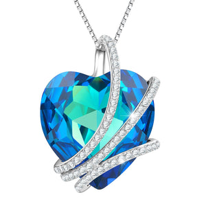 """Blue Love"" Heart Pendant Necklace Crystal from Swarovski,Anniversary Birthday Gifts for Her"