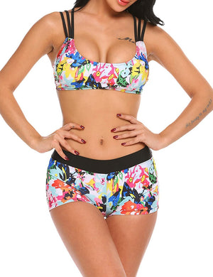 3 Piece Bathing Suits for Women Printed Bikini Set with Versatile Cover Up Tankini Swimsuits S-XXL