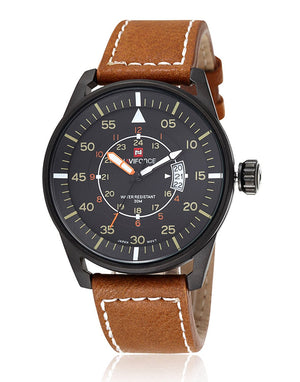 RUIWATCHWORLD Outdoor Sport Men Watches Leather Band Movement Quartz Men Multifunction Watch Brown.