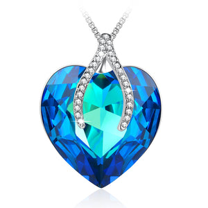 """Wishbone""Pendant Necklace Sapphire Jewelry Gifts for Her Best Wishes,Blue Crystal from Swarovski"