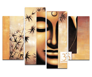 Art - Large Modern 4 Piece Stretched and Framed Giclee Canvas Prints Artwork Buddha Abstract Oil Paintings Reproduction on Canvas Wall Art Ready to Hang for Living Room Home Decorations L