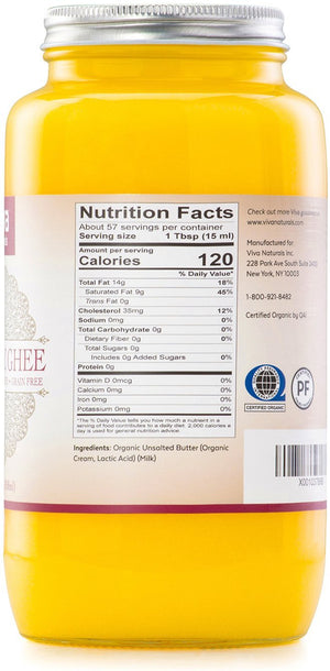 Viva Naturals Organic Ghee 29 oz - from 100% Grass-Fed Cows, Non-GMO, and Certified Paleo Diet Friendly
