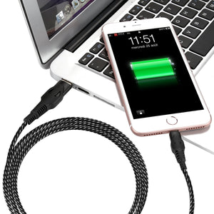 Lightning charger,SPEATE iPhone Charger 3pack 3/6/10FT Nylon Braided Lightning cable to USB data Syncing and Charging Cable Cord for iPhoneX 8/8 Plus/7/7 Plus/6/6 Plus/6s/6s Plus/5/5s(GrayBlack)