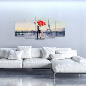 Modern 5 Panel Stretched and Framed Giclee Canvas Prints Love in Paris by Oil Paintings Reproduction Pictures on Canvas Wall Art for Bedroom Home Decorations Valentine's Gift