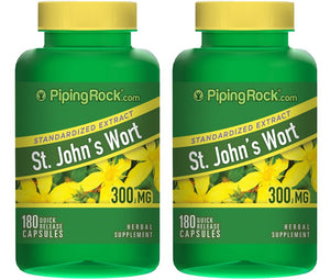 St. John's Wort Standardized Extract 300 mg 0.3% Hypericin 2 Bottles x 180 Quick Release Capsules...