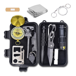 Survival Kit Lifesaving Emergency Tools, Outdoor Survival Gear Contains Folding Knife, Compass, Flashlight for Camping Hiking Wilderness Adventures and Disaster Preparedness
