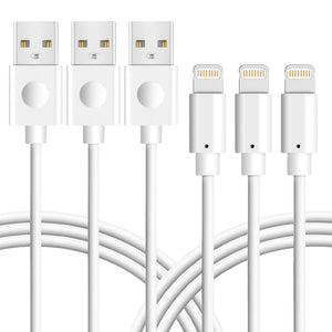 Novtech iPhone Charger Cable Lightning to USB Cable Charging Cord for Apple iPhone 7 7 Plus 6s 6s Plus 6 6 plus 5s 5c 5 iPad Air iPad mini iPod (3 Pack 6ft White)