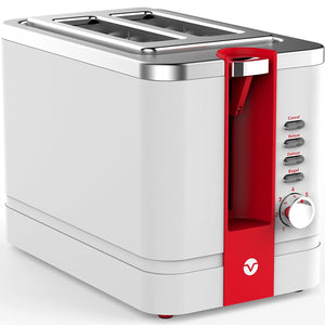 Vremi Toaster 2 Slice Stainless Steel - Retro Toaster for Bagels with Wide Slots for Large Slice Bread and Temp Control - Cool White and Red Toaster with Pop Up Reheat Defrost Removable Crumb Tray