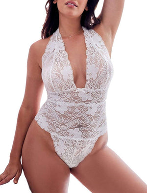 Sexy Plus Size Lace Teddy, Halter Plunging One-Piece Lingerie