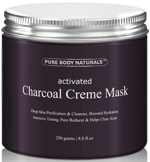 [Pack of 2 Jars x 8.8 fl oz] Pure Body Naturals Activated Charcoal Creme Face Mask, 8.8 Ounce