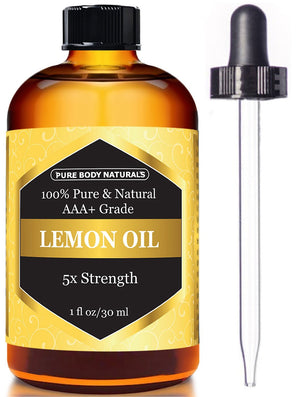 [Pack of 2] Pure Body Naturals 100% Pure Lemon Essential Oil, 1 Fl. Oz Each