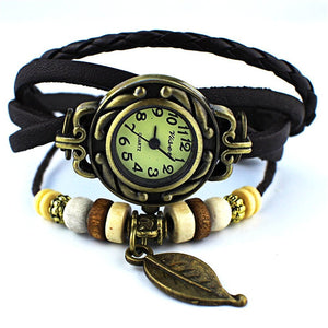 Pack of 6 Women's Watches Vintage Wrap Around Bead Leaf Bracelet Quartz Wholesale Set