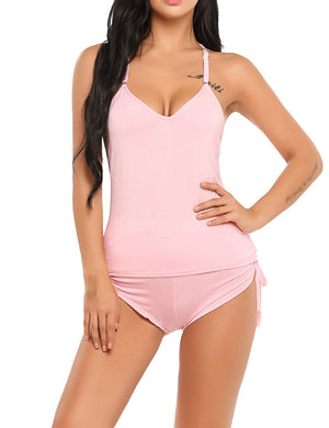 Womens Sleepwear Sleeveless Pajama Set Cami Shorts Sexy Nightwear