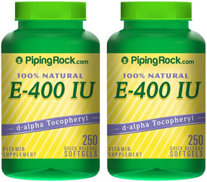 Piping Rock 100% Natural Vitamin E-400 IU 2 Bottles x 250 Quick Release Softgels Vitamin Supplement