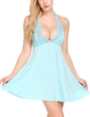 Womens Slip Lingerie Halter Strap Chemise Sexy Nightgown