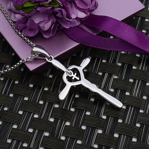 """Faith Hope Love"" Double Cross Pendant Necklace for Women,Crystals Jewelry White Gold Plated"