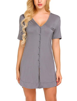 Women's Nightshirt Short Sleeve Button Down Nightgown V-Neck Boyfriend Sleepshirt Pajama Dress