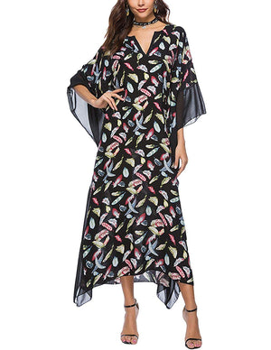 Buauty Caftan Dresses for Women V Neck Long Kaftan Cover Up Summer Maxi Dress Plus Size