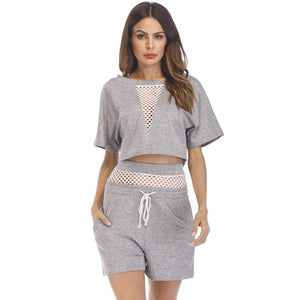 Women's Casual 2 Piece Outfits Mesh Long Sleeve Crop Top Sweatshirt Shorts Sweatsuits Set Tracksuits