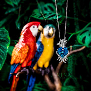 """Agapornis"" Parrot Design Women Pendant Necklace, Made with Swarovski Crystals Jewelry for Her"