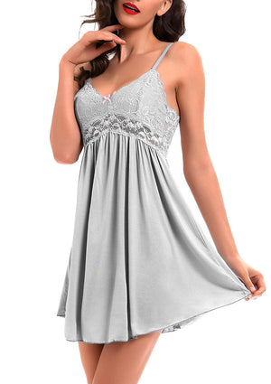 Women Lace Lingerie Sleepwear Chemises V-Neck Full Slip Babydoll Nightgown Dress