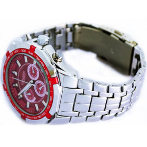 RUIWATCHWORLD Men's Stylish Quartz Movt Casual Stainless Steel Band Wrist Watch Classic Design
