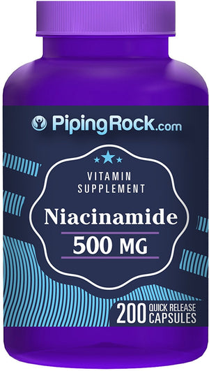 [Pack of 2] Niacinamide B-3 500 mg 200 Quick Release Capsules Each - Vitamin Supplement