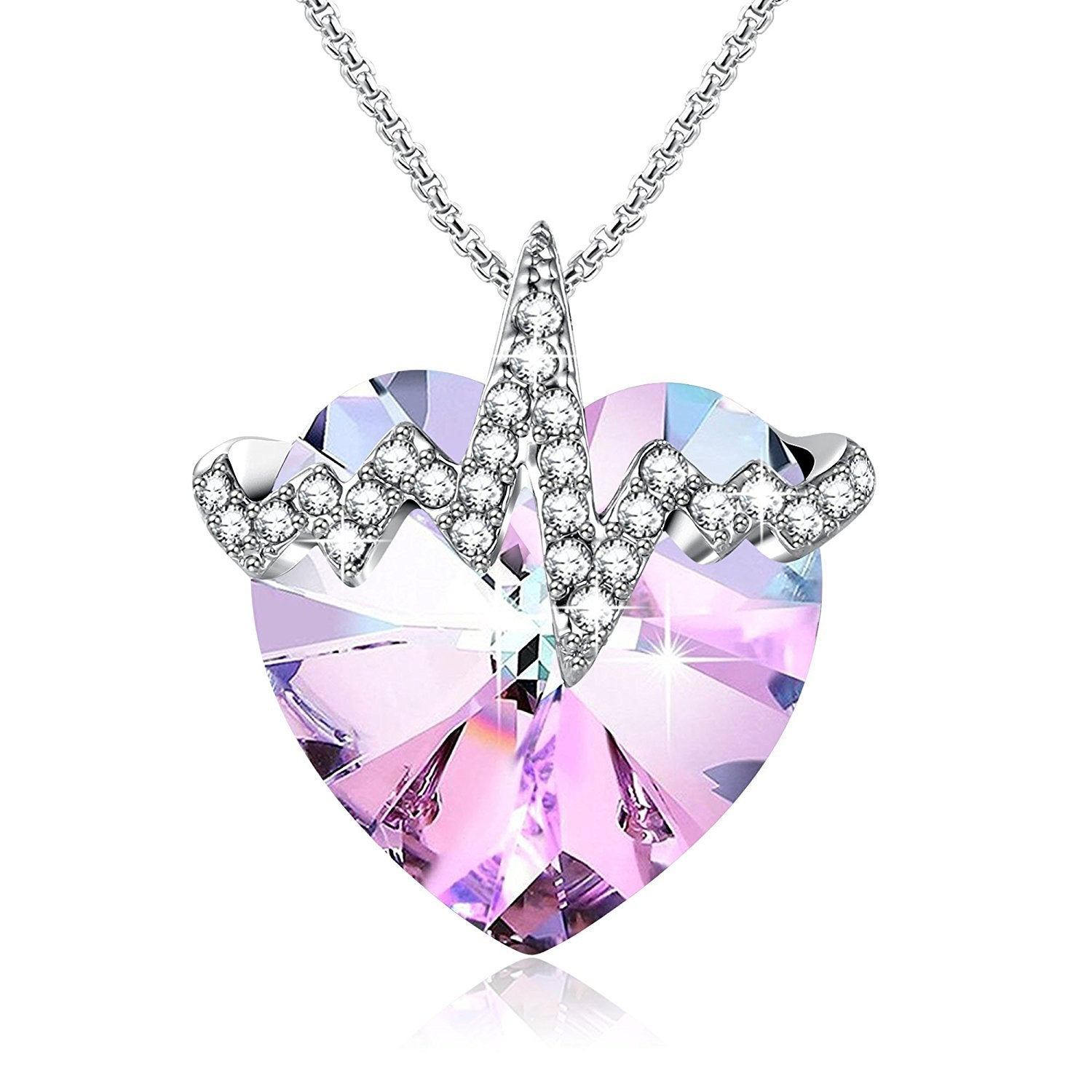 Cubic Pendant Necklace for Women Allergy Free Jewelry Gifts for Mother Daughter Wife Girlfriend Crystal Necklace 925 Sterling Silver Gift Packaged Colorful Crystal Aurore Boreale Necklace