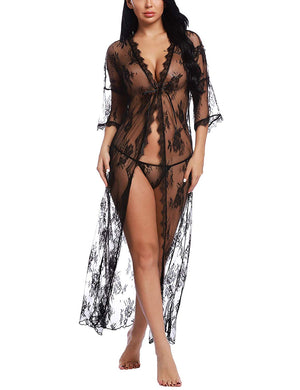Womens Lingerie Lace Long Robe 3/4 Sleeve Sexy Sheer Kimono Mesh Nightgown for Sex