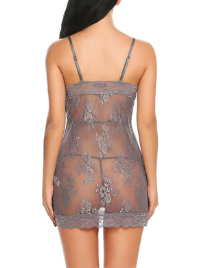 Sexy Lingerie Womens Lace Floral Adjustable Spaghetti Strap Chemise Sleepwear