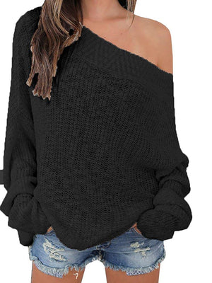 Beautife Womens Sweaters Oversized Off Shoulder Knit Casual Long Sleeve Slash Neck Pullovers