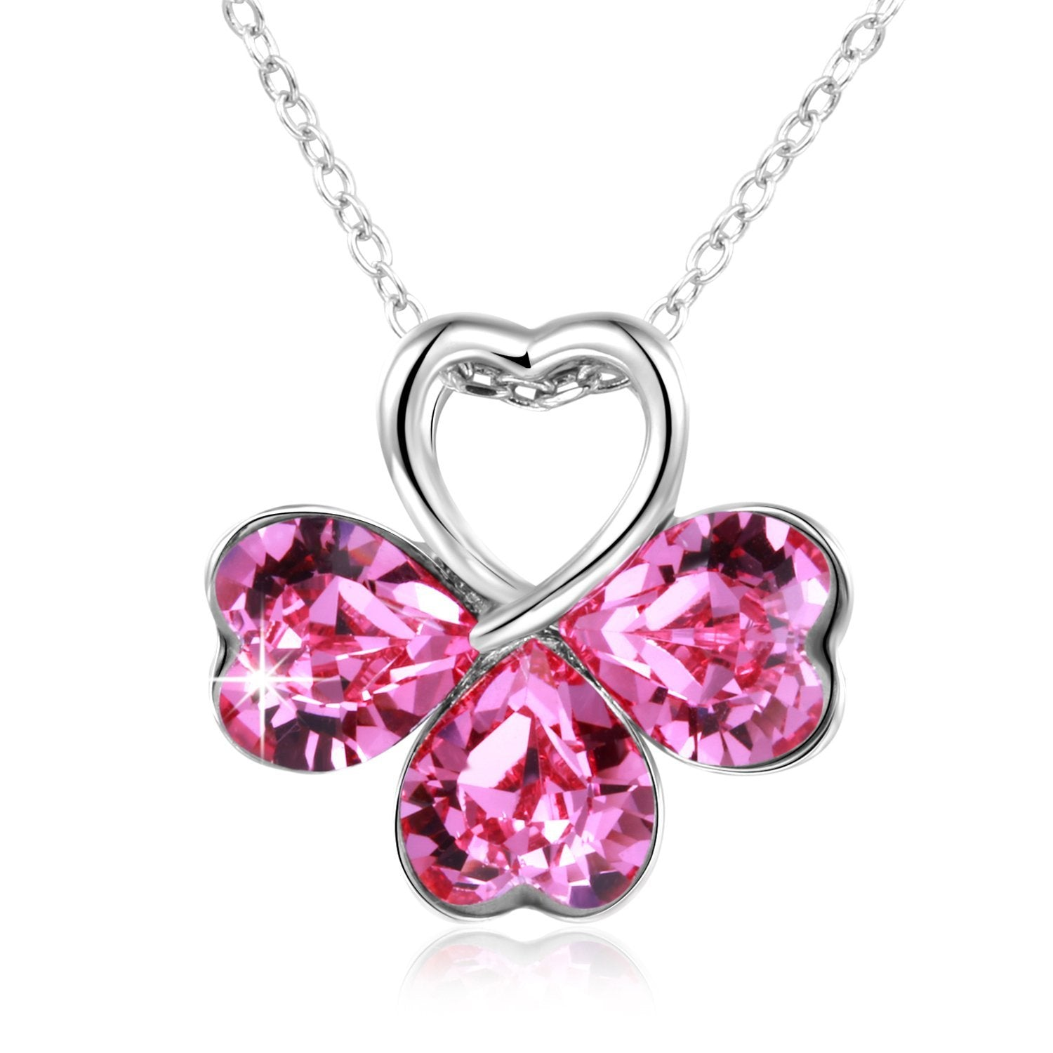 Good luck pink heart pendant necklace with four leaf clover shape good luck pink heart pendant necklace with four leaf clover shape crystal from aloadofball Image collections