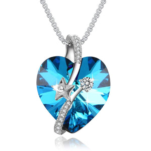 """Shooting Star"" Heart Crystal Necklace PLATO H ""Eternal Love"" Heart Star Necklace Woman Gifts Necklace Love Heart Pendant Necklace, Ocean Blue/Classic Purple"