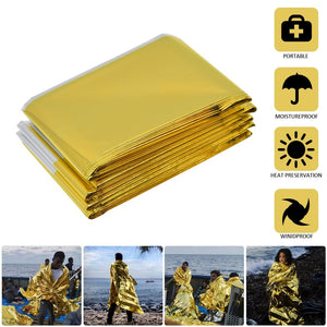 "[Pack of 10] Emergency Blanket Mylar Survival Blanket 82"" X 62"" Two-Sided Extra Large – Moisture Proof and 90% Heat Retention Foil Space Solar Emergency Thermal Blanket Pack of 10"